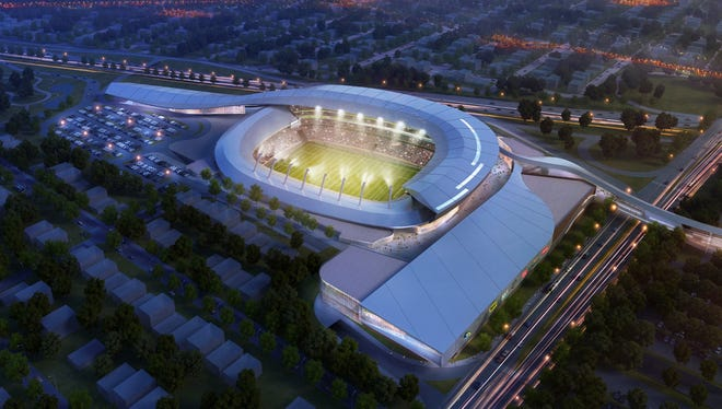 This artist's rendering of a proposed Cosmos Stadium was provided by the New York Cosmos, wh are planning a 25,000-seat soccer stadium at Long Island's Belmont Park racetrack.