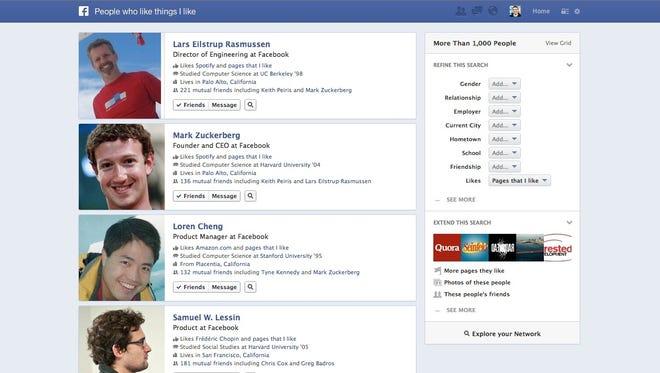 A screenshot showing Facebook Graph Search.