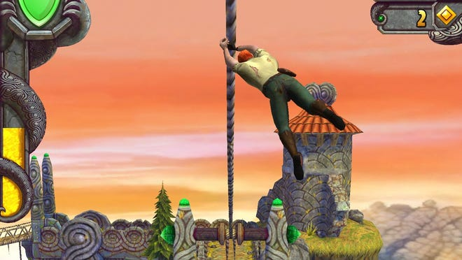 A screen shot from the mobile game 'Temple Run 2'.