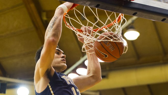 Pittsburgh Panthers center Steven Adams dunks during the second half against the Villanova Wildcats at the Pavilion. Pitt defeated Villanova 58-43.