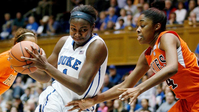 Duke Blue Devils center Elizabeth Williams drives against Virginia Tech Hokies forward Taijah Campbell during the first half at Cameron Indoor Stadium.