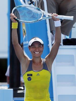 Kimiko Date-Krumm celebrates her second-round win over Shahar Peer.