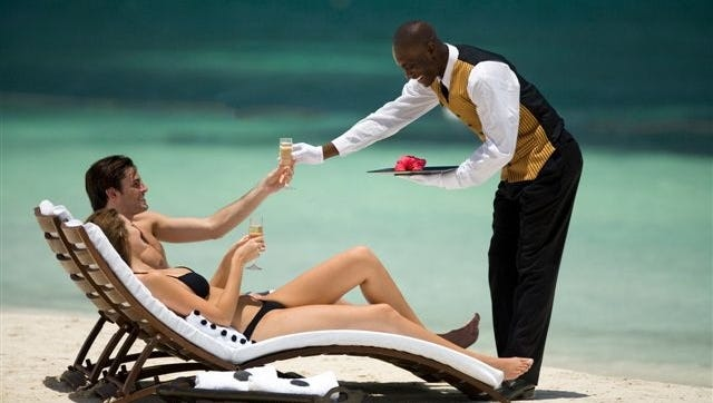Sandals butlers even serve guests on the beach.