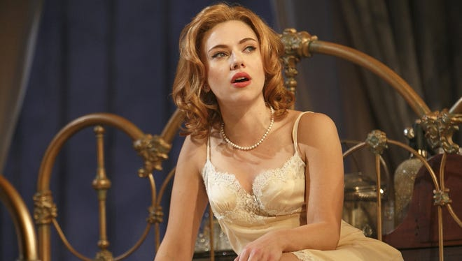 Scarlett Johansson stars in 'Cat on a Hot Tin Roof' at the Richard Rodgers Theatre in New York.
