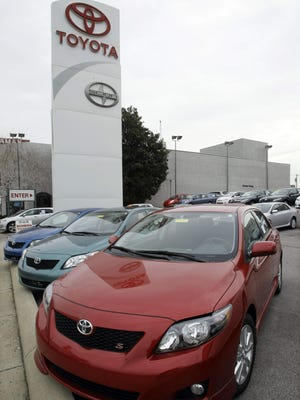Toyota Corollas are seen at a dealership on Wednesday, Jan. 27, 2010 in Nashville, Tenn.