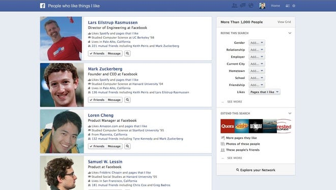 An example of Facebook's new Graph Search tool.