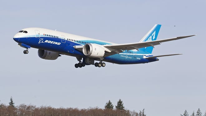 A Boeing 787 Dreamliner conducts a test flight  at Paine Field in Everett, Washington.