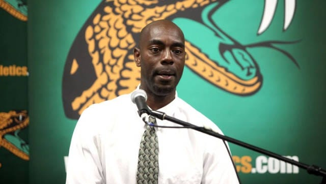 Willie Brown speaks at his introduction as Florida A&M University's baseball coach in 2011.