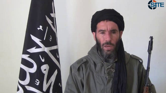 This image from video provided by the SITE Intel Group made available Jan. 17 shows militant militia leader Mokhtar Belmokhtar. It could not be verified.