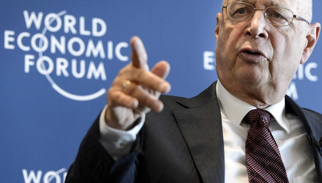 Klaus Schwab, founder and president of the World Economic Forum, at a Wednesday press conference in Cologny near Geneva.