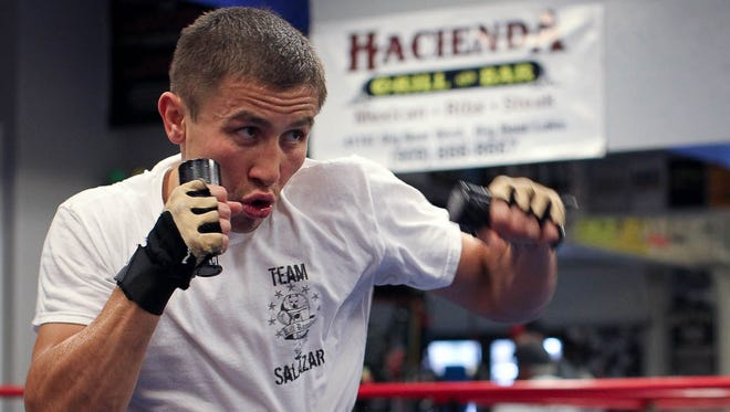 Gennady works out in a recent media day event at Big Bear Lake, Calif. He fights Gabriel Rosado for his middleweight belt Saturday night at Madison Square Garden.
