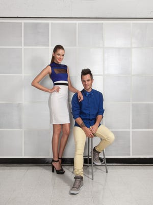 Anthony Ryan Auld, right, winner of the USA TODAY challenge on the 2012 edition of the television competition 'Project Runway All Stars,' with an unidentified model wearing  one of his designs. Auld went on to take the top prize.