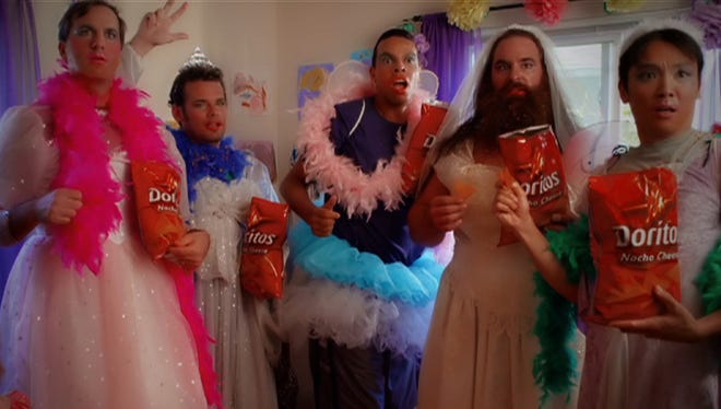 """For the seventh consecutive year, Doritos is asking consumers to submit and vote on videos for its Super Bowl ads. This  frame is from """"?Fashionista Daddy""""? by Mark Freiburger of Charlotte, one of five finalists competing to air in the Super Bowl Feb. 3."""