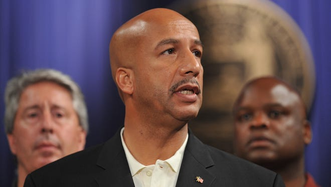 Then-Mayor Ray Nagin, of New Orleans, is shown in a 2008 photo briefing the city staff on preparations for Hurricane Gustav. Nagin came to national attention during Hurricane Katrina.