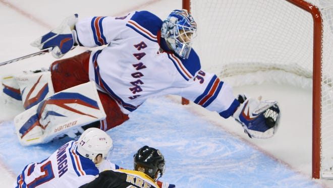 New York Rangers goaltender Henrik Lundqvist made 31 saves in the 3-1 loss to the Boston Bruins. This one could end up being the year's best.