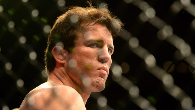 UFC fighter Chael Sonnen in the ring prior to his fight against Anderson Silva (not pictured) during a middleweight bout in UFC 148 at the MGM Grand Garden Arena.