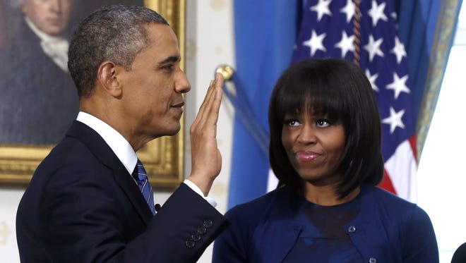 Michelle Obama had her new bangs on full display during Sunday's official swearing in ceremony.