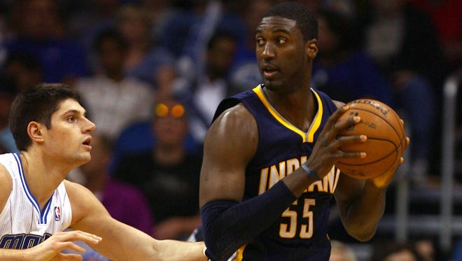 Indiana Pacers center Roy Hibbert (55) says the team has to learn how to win on the road.