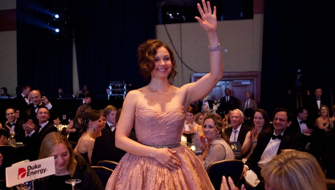 Actress Ashley Judd acknowledges the crowd after being introduced at the 17th Kentucky Society Bluegrass Ball in Washington Saturday.