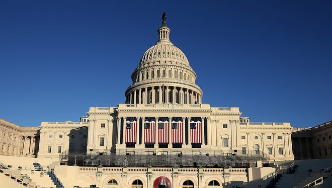 Preparations are made Friday for the swearing-in ceremony at the U.S. Capitol.