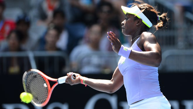 Sloane Stephens of the USA pops a forehand on her way to victory, 6-1, 3-6, 7-5 against Bojana Jovanovski of Serbia. She's into her first Australian Open quarterfinal.