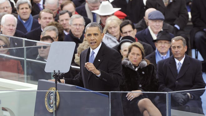 President Obama delivers the inaugural address.