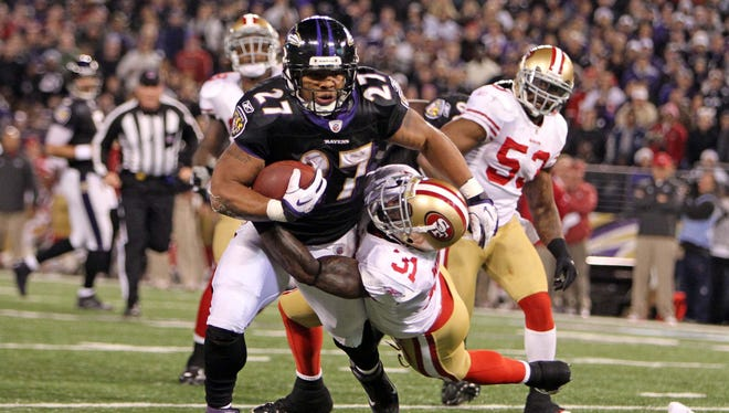 Ray Rice was limited to 83 yards from scrimmage when the 49ers and Ravens clashed in 2011.