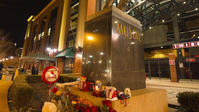 Stan Musial's statue outside Busch Stadium will be the site of an official tribute on Saturday.