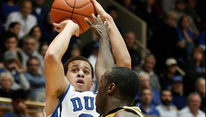 Duke guard Seth Curry takes aim over Georgia's Mfon Udofia in the Blue Devils' most recent victory. Curry had 24 points in that game.