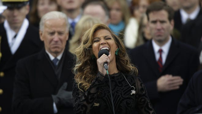 Beyonce sings the national anthem at the inaugural swearing-in at the U.S. Capitol on Monday.