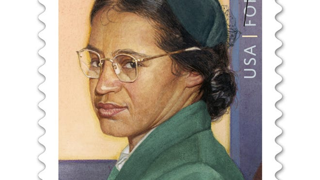The new Rosa Parks Forever stamp being launched nationwide in Dearborn, Mich., and Detroit on Feb. 4, 2013, the 100th anniversary of her birth.  Image received Jan. 22, 2013, from the United States Postal system.