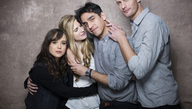 """Ellen Page, left, Brit Marling, director Zal Batmanglij and Alexander Skarsgard bonded while making 'The East.' """"Everyone was so passionate about it,"""" Skarsgard says. """"It wasn't just a job."""""""