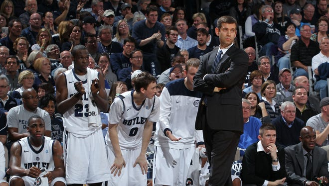 Butler Bulldogs coach Brad Stevens stands on the sidelines against the Gonzaga Bulldogs at Hinkle Fieldhouse. Butler defeated Gonzaga 64-63.