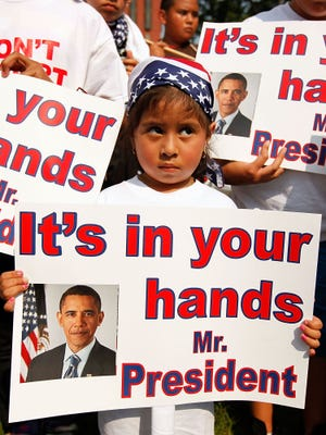 """President Barack Obama's recent immigration policy changes are aimed at preventing kids like these who called themselves """"Obama orphans"""" in a 2010 protest at the White House. These children have parents who have been deported for coming into the country illegally."""