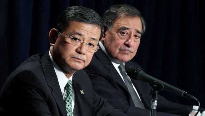 U.S. Secretary of Defense Leon Panetta and Secretary of Veterans Affairs Eric Shinseki attend a joint news conference on Dec. 6 at the Veterans Affairs Department in Washington, D.C.
