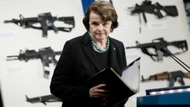 """Senator Dianne Feinstein, D-Calif., speaks at a press conference on Capitol Hill on Thursday to introduce the """"Assault Weapons Ban of 2013"""" legislation."""