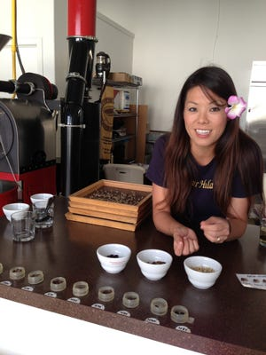 Tammy Harnett of Hula Daddy Kona Coffee explains the different flavors that come from different roast levels.