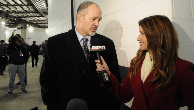 Indianapolis Colts head coach Chuck Pagano being interviewed by Rachel Nichols, then with ESPN, before the playoff game vs. the Baltimore Ravens on Jan. 6. Nichols since has left for CNN and Turner Sports.