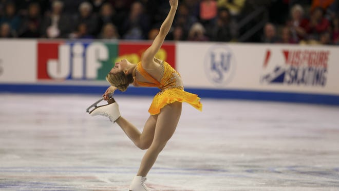 Ashley Wagner competes in the free skate at the Skate America competition at the ShoWare Center on Oct. 21, 2012.