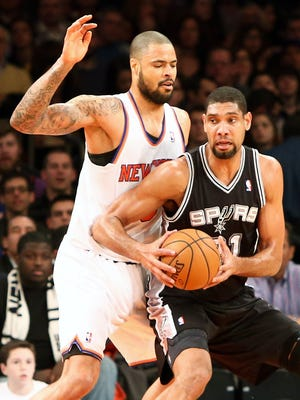 Spurs big man Tim Duncan, right, is headed to his 14th All-Star Game while Knicks center Tyson Chandler, left, made his first.