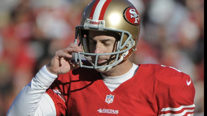 December 30, 2012; San Francisco, CA, USA; San Francisco 49ers kicker David Akers (2) reacts after missing a field goal during the second quarter against the Arizona Cardinals at Candlestick Park.