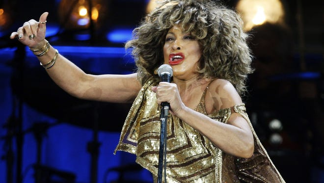 Tina Turner performs on stage during her concert at the Hallenstadion venue in Zurich.