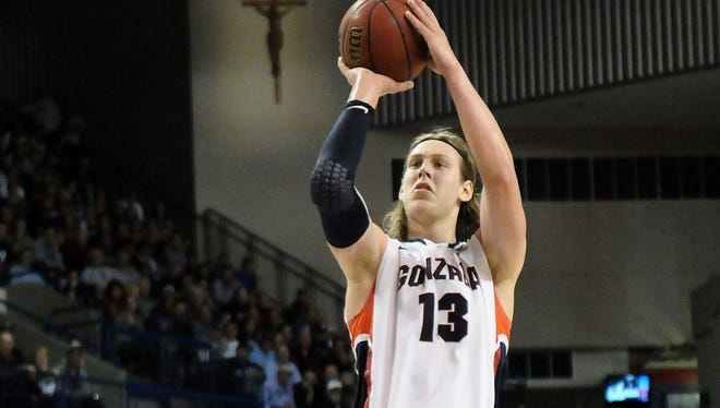 Gonzaga Bulldogs forward Kelly Olynyk makes a basket against Brigham Young Cougars forward Brandon Davies during the second half at the McCarthey Athletic Center.