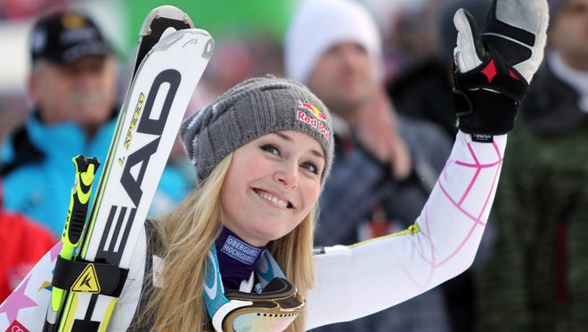 Lindsey Vonn, of the United States, celebrates at finish line after winning an alpine ski, women's World Cup giant slalom, in Maribor, Slovenia, Saturday.