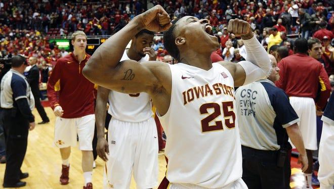 Iowa State guard Tyrus McGee celebrates their 73-67 win over Kansas State Saturday, Jan. 26, 2013, in Ames, Iowa.