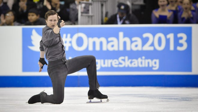 Jeremy Abbott competes during the senior mens short program of the 2013 US Figure Skating Championships at the CenturyLink Center in Omaha on Friday.