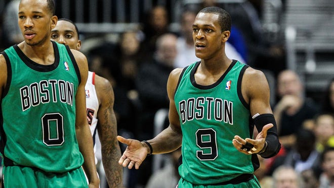 Celtics guard Rajon Rondo questions a call during Friday's 123-111 loss to the Hawks.
