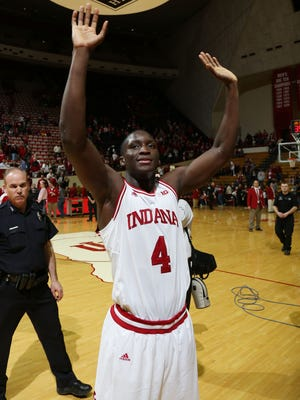 Indiana Hoosiers guard Victor Oladipo (4) after the game reacts to defeating the Michigan State Spartans at Assembly Hall. Indiana defeats Michigan State 75-70.