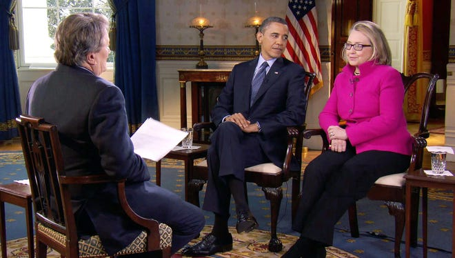 President Obama and Secretary of State Hillary Rodham Clinton speak with 60 Minutes correspondent Steve Kroft, left, in the Blue Room of the White House.