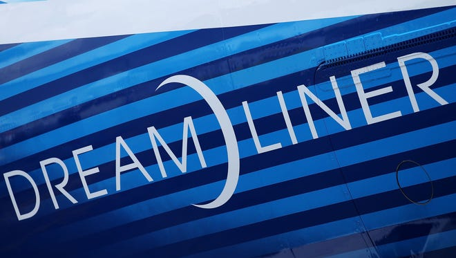 The outside decal of the Boeing 787 Dreamliner.